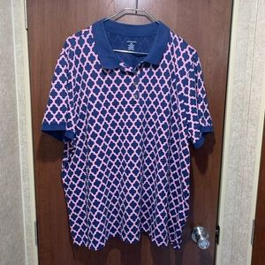 Lands end 2X 20/22W pink navy polo shirt 4739